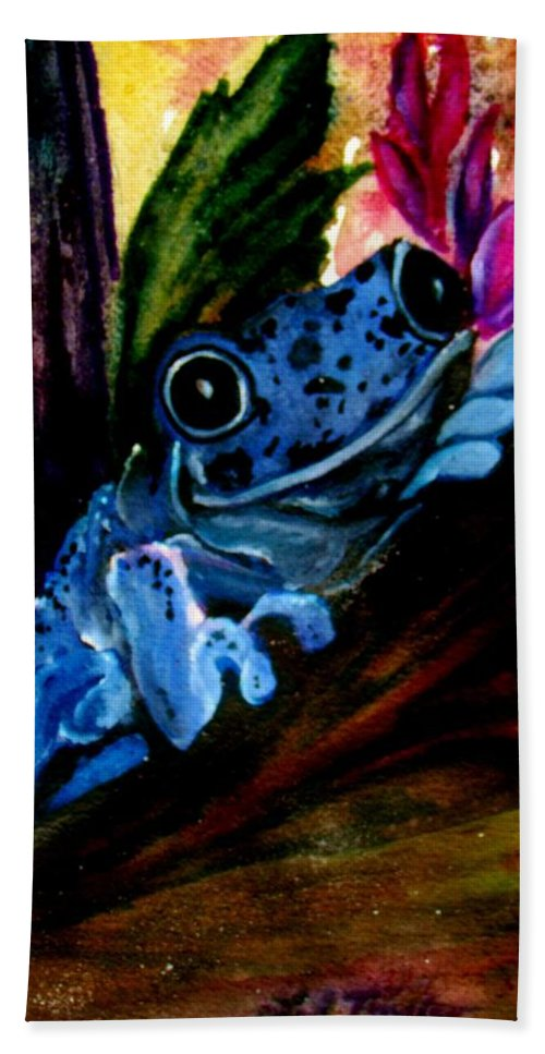 Frog Bath Sheet featuring the painting Feeling A Little Blue by Lil Taylor
