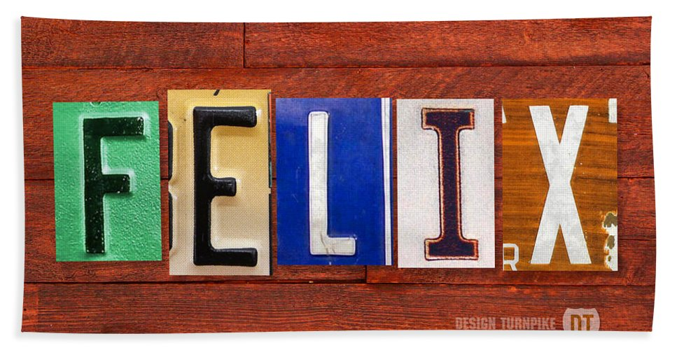 License Hand Towel featuring the mixed media Felix License Plate Name Sign Fun Kid Room Decor by Design Turnpike