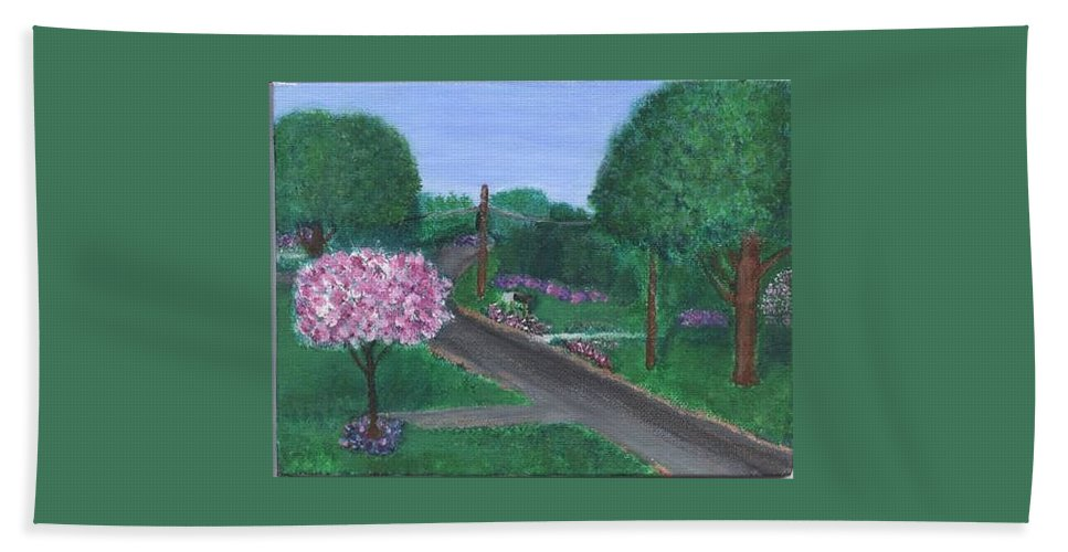 Plein Aire Bath Towel featuring the painting Fellowship by Sheila Mashaw
