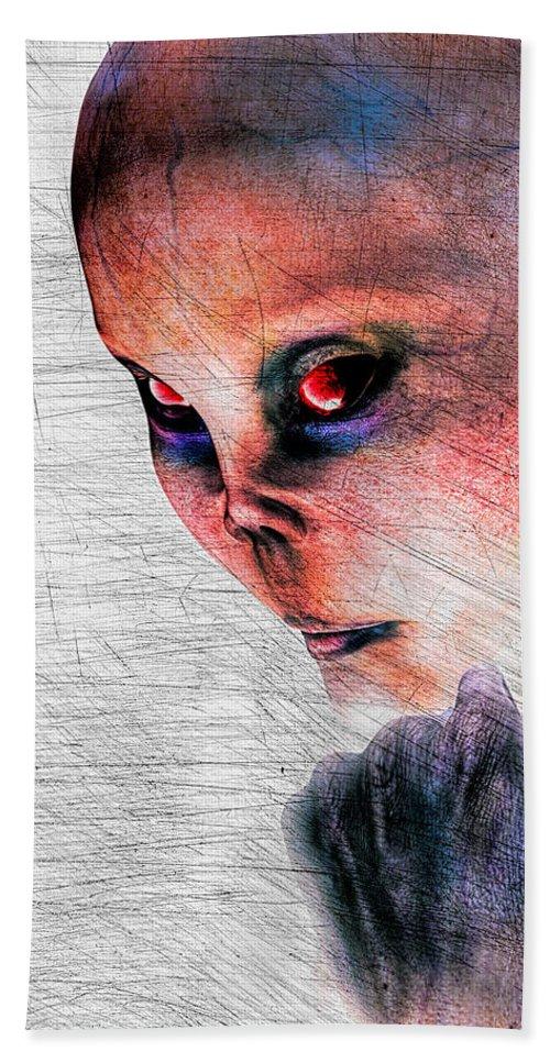 Alien Abduction Bath Sheet featuring the digital art Female Alien Portrait by Bob Orsillo