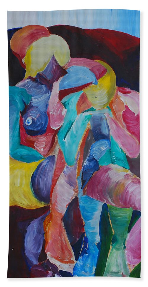 Feminine Art Hand Towel featuring the painting Female Art by Catt Kyriacou