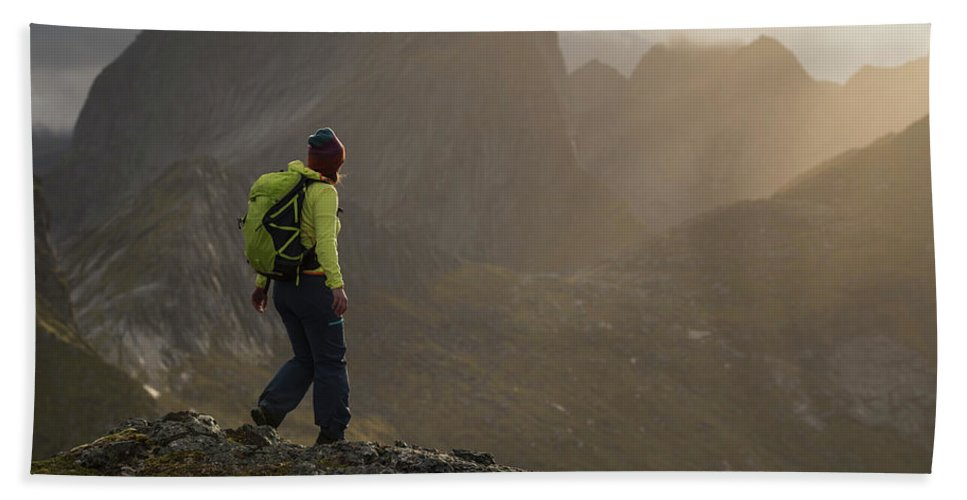 Tverrfjellet Hand Towel featuring the photograph Female Hiker On Summit Of Tverrfjellet by Cody Duncan