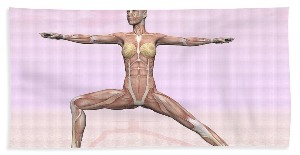 Anatomy Bath Sheet featuring the digital art Female Musculature Performing Warrior by Elena Duvernay