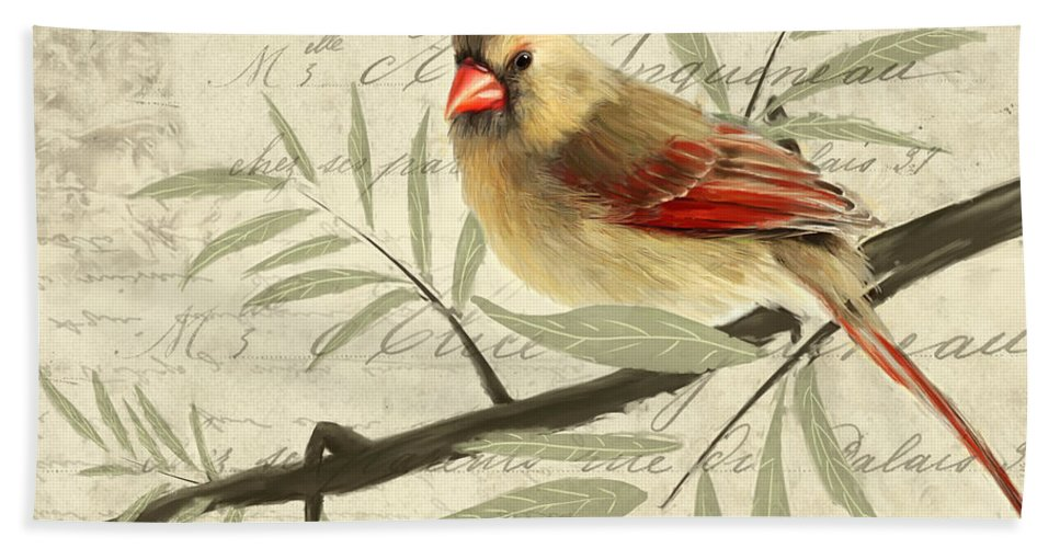 Red Cardinal Bath Towel featuring the painting Female Symphony by Lourry Legarde