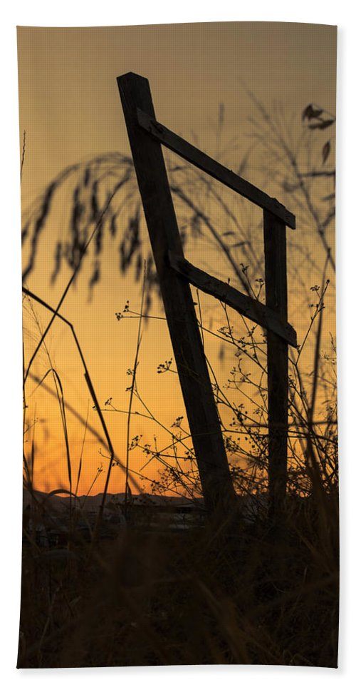 Marco Oliveira Photography Bath Sheet featuring the photograph Fence At Sunset I by Marco Oliveira
