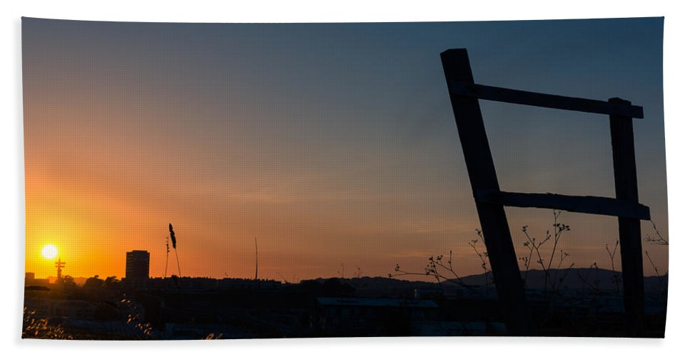 Marco Oliveira Photography Bath Sheet featuring the photograph Fence At Sunset II by Marco Oliveira