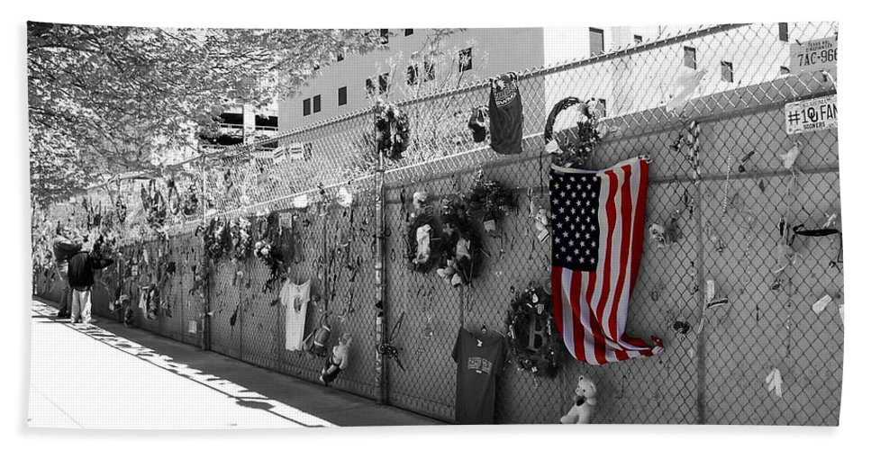 Flag Bath Sheet featuring the photograph Fence At The Oklahoma City Bombing Memorial by Beverly Stapleton