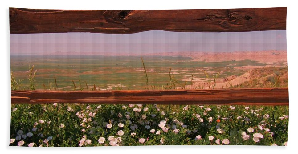 Fence Frame Hand Towel featuring the photograph Fence Frame by John Malone