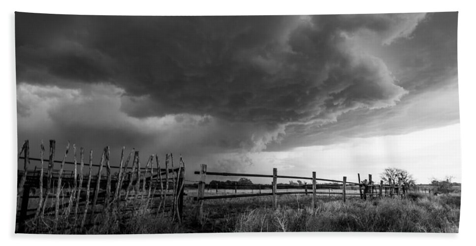 Black And White Bath Sheet featuring the photograph Fenced In - Western Oklahoma Scene In Black And White by Sean Ramsey