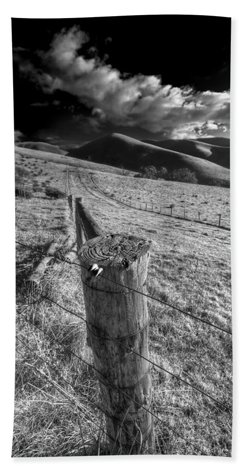 Landscape Bath Sheet featuring the photograph Fenced In by Wayne Sherriff