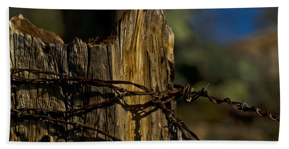 Barbed Wire Hand Towel featuring the photograph Fenceline 2 by Patrick Moore