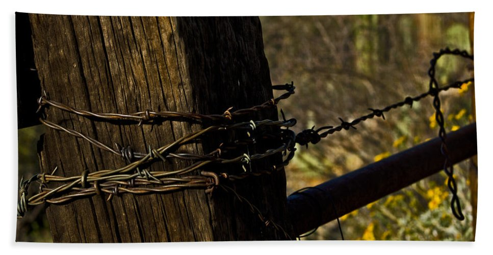 Barbed Wire Bath Sheet featuring the photograph Fenceline by Patrick Moore