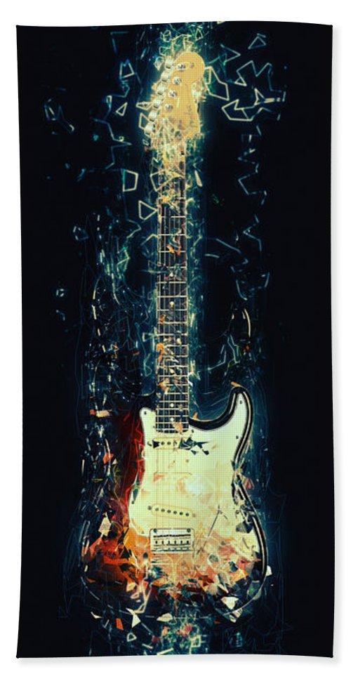 Fender Stratocaster Bath Towel featuring the digital art Fender Strat by Zapista OU