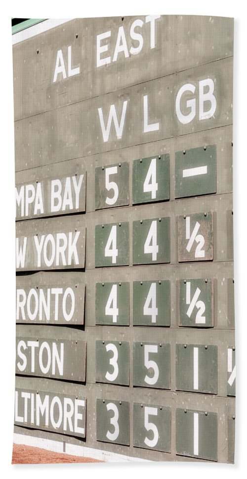 Green Monster Bath Sheet featuring the photograph Fenway Park Al East Scoreboard Standings by Susan Candelario