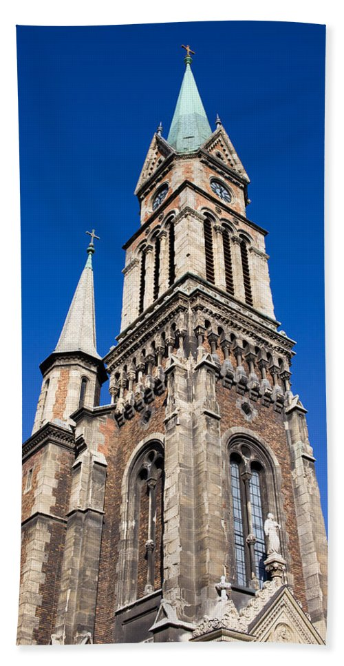 Budapest Bath Sheet featuring the photograph Ferencvaros Church Tower In Budapest by Artur Bogacki