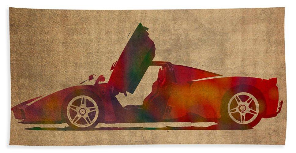 Ferrari Bath Sheet featuring the mixed media Ferrari Enzo 2004 Classic Car Watercolor On Worn Distressed Canvas by Design Turnpike