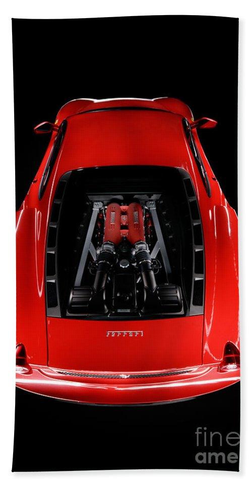 Red Bath Sheet featuring the photograph Ferrari F430 Engine by Frank Kletschkus