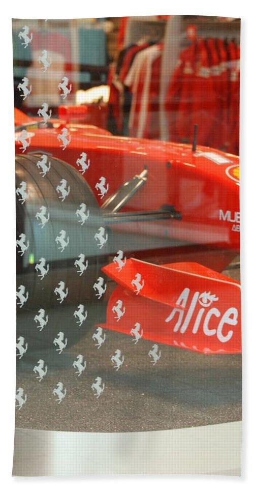 Stallions Bath Towel featuring the photograph Ferrari Formula One by Rob Hans
