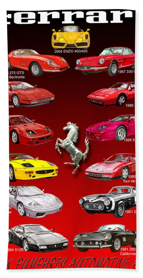 Framed Prints Of Ferrari Art Bath Towel featuring the painting Ferrari Sports Car Poster by Jack Pumphrey
