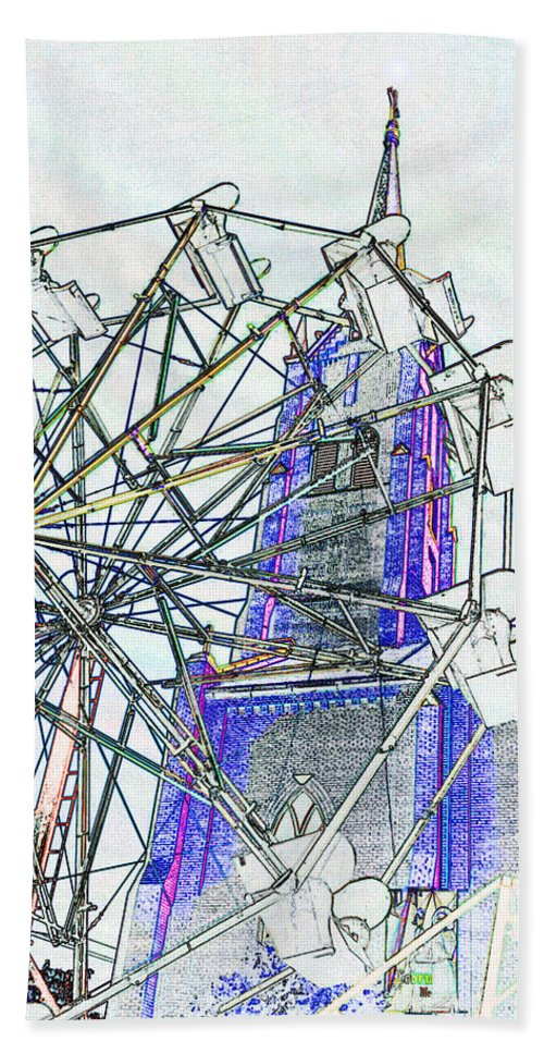 Church Hand Towel featuring the digital art Ferris Wheel 2 by Kimberlee Marvin
