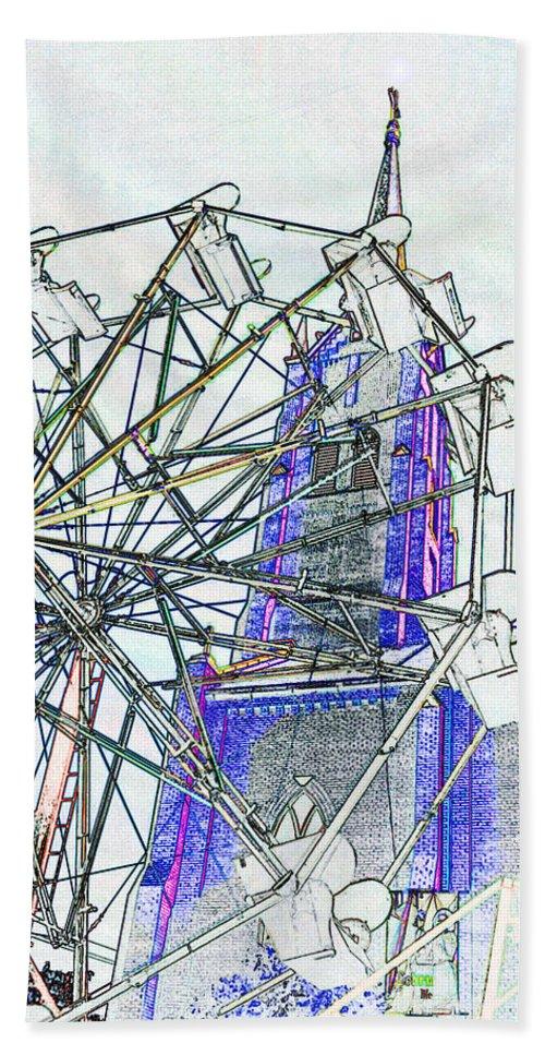 Church Bath Sheet featuring the digital art Ferris Wheel 2 by Kimberlee Marvin
