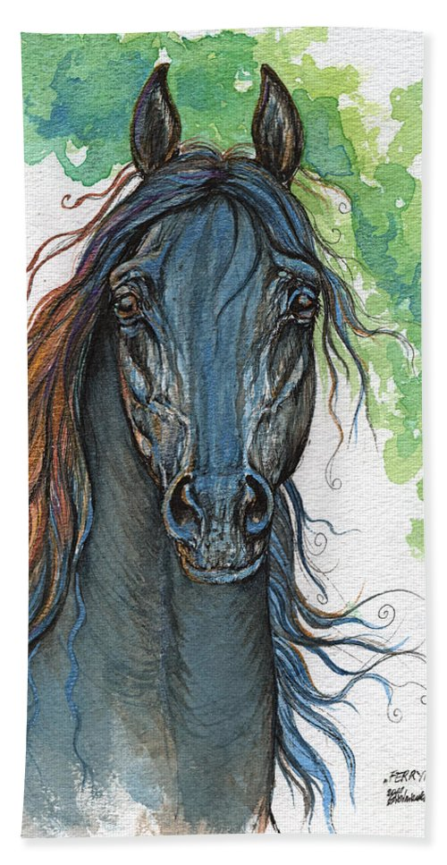 Horse Bath Sheet featuring the painting Ferryt Polish Black Arabian Horse by Angel Ciesniarska