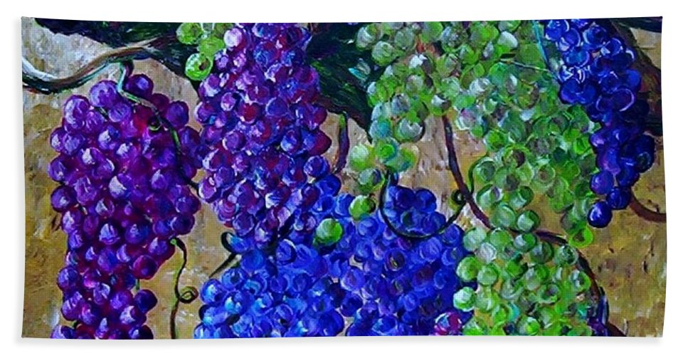 Grapes Hand Towel featuring the painting Festival Of Grapes by Eloise Schneider