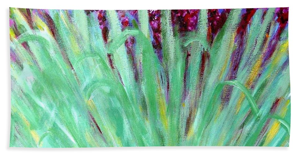 Abstract Bath Towel featuring the painting Festoon by Laurie Morgan