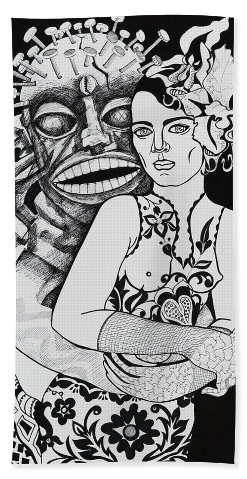Surreal Hand Towel featuring the drawing Fetish Girl by Yelena Tylkina