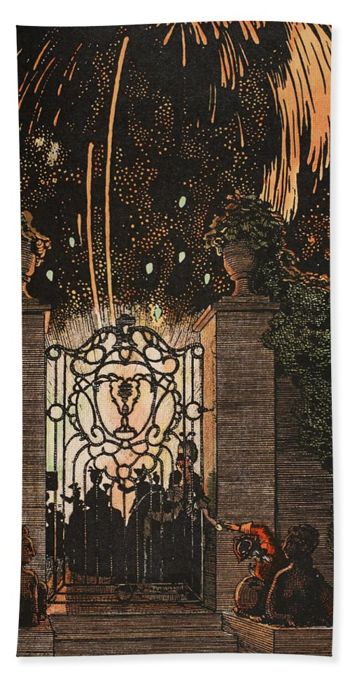 Somov Hand Towel featuring the painting Feu D Artifice by Konstantin Andreevic Somov