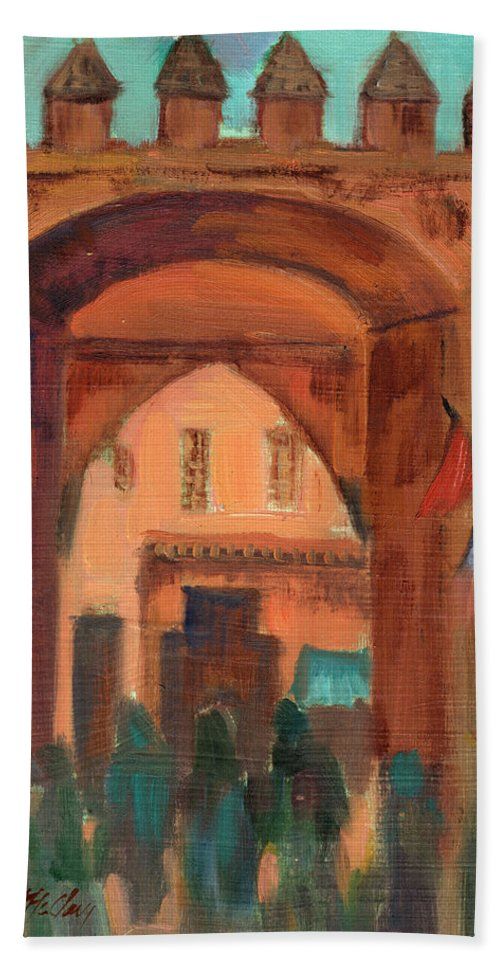 Fez Hand Towel featuring the painting Fez Town Scene by Diane McClary