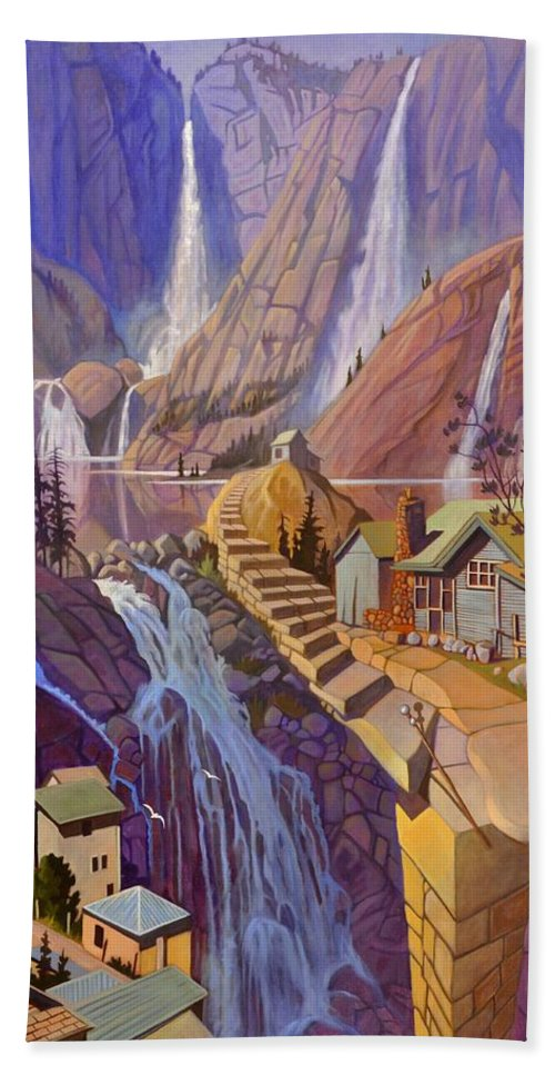 Waterfall Hand Towel featuring the painting Fibonacci Stairs by Art James West