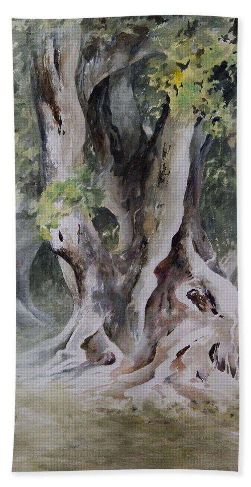 Landscape Bath Sheet featuring the painting Ficus Aurea by Rachel Christine Nowicki