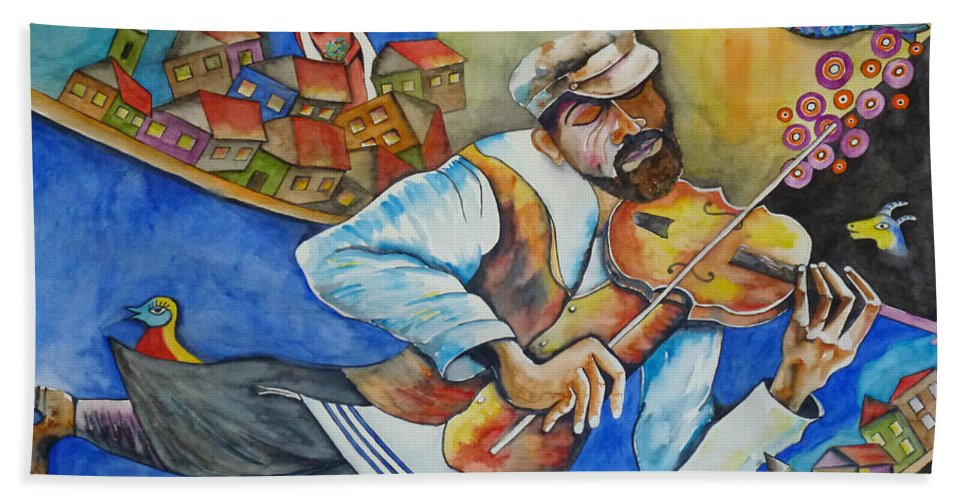 Fiddler On The Roof Hand Towel featuring the painting Fiddler On The Roofs by Guri Stark
