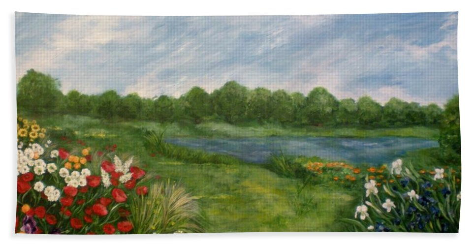 Flowers Hand Towel featuring the painting Field Of Flowers by Graciela Castro