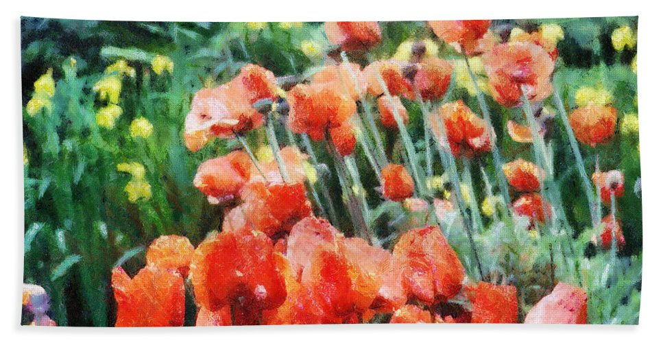 Canadian Bath Towel featuring the painting Field Of Flowers by Jeffrey Kolker