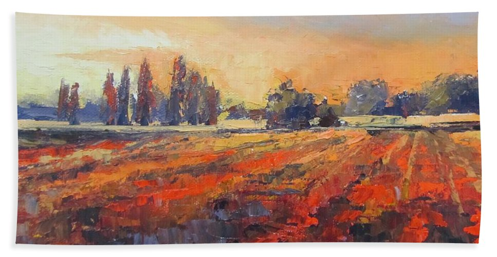 Landscape Bath Sheet featuring the painting Field Of Light Oil Painting by Chris Hobel