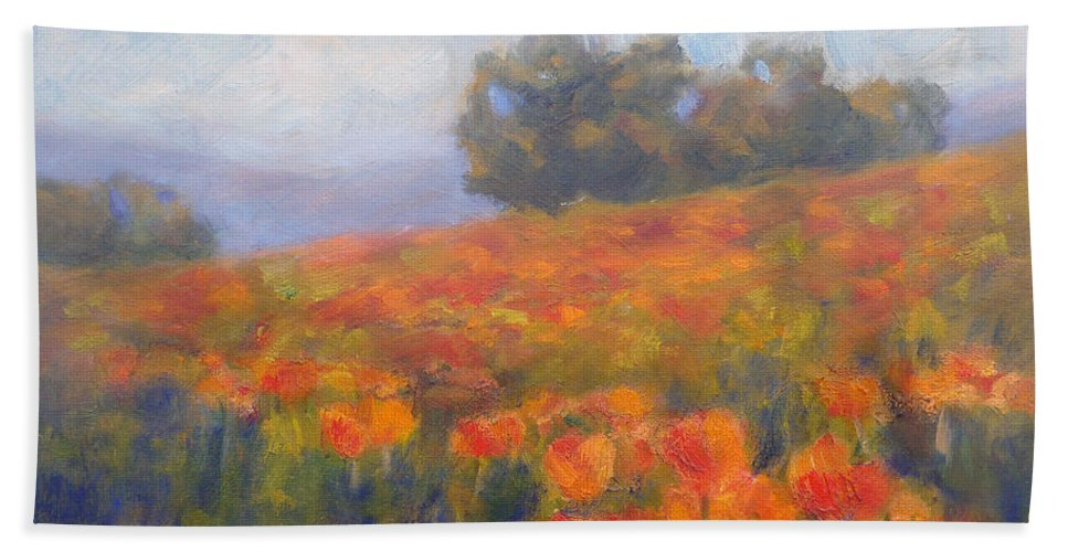 Field Of Poppies Bath Sheet featuring the painting Field Of Poppies by Carolyn Jarvis