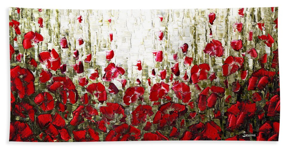 Poppies Bath Sheet featuring the painting Field Of Poppies by Susanna Shaposhnikova