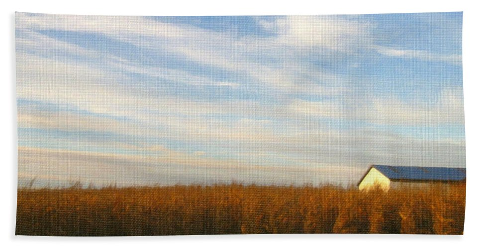 Farm Hand Towel featuring the photograph Fields Of Gold - Digital Painting Effect by Rhonda Barrett