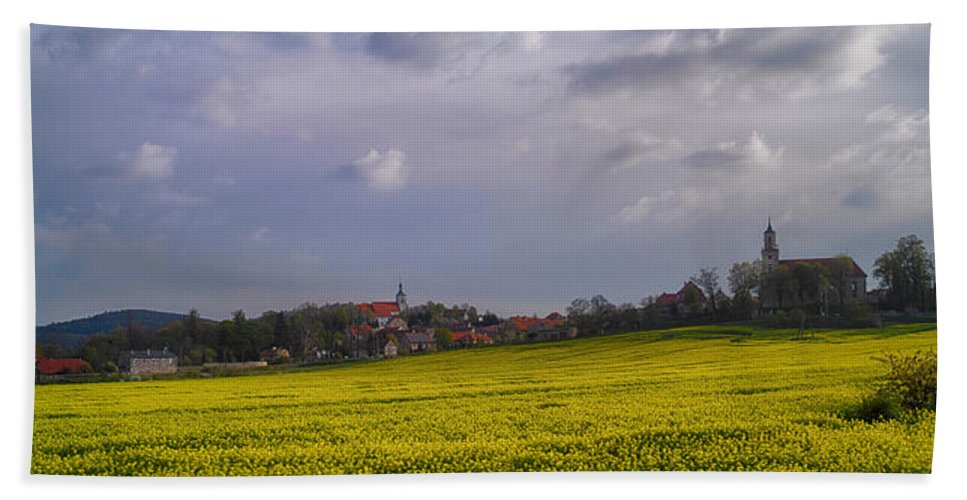 Photography Bath Sheet featuring the photograph Fields Of Rapeseed In Bloom, Lower by Panoramic Images