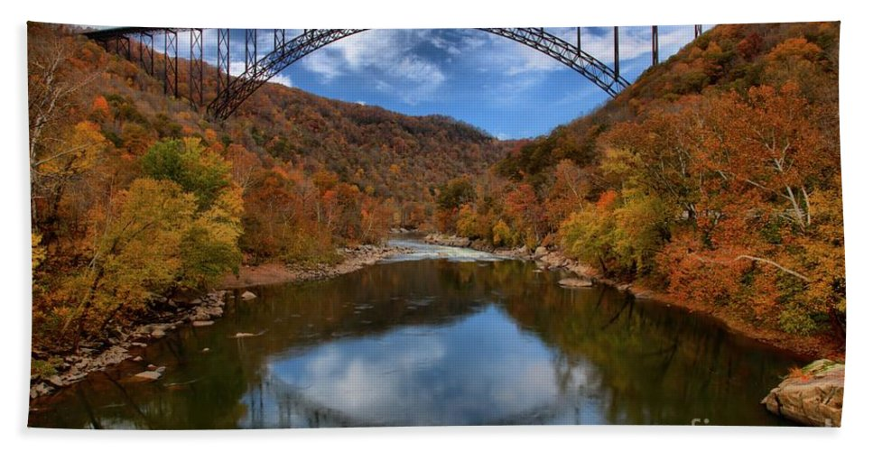 New River Gorge Bath Sheet featuring the photograph Fiery Colors At New River Gorge Bridge by Adam Jewell