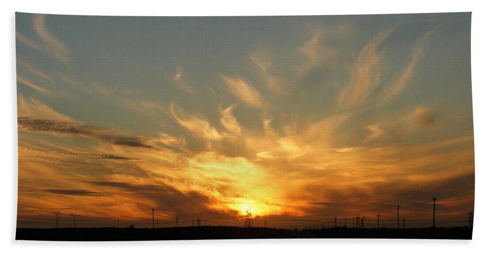 Sunset Bath Sheet featuring the photograph Fiery Flare by Jennifer Van Niekerk
