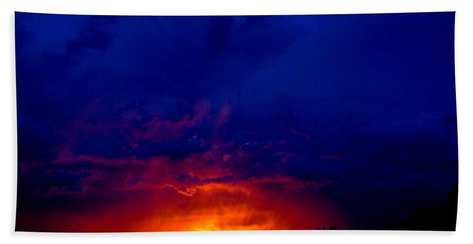 Sunset Bath Sheet featuring the photograph Fiery Sunset by Gaurav Singh