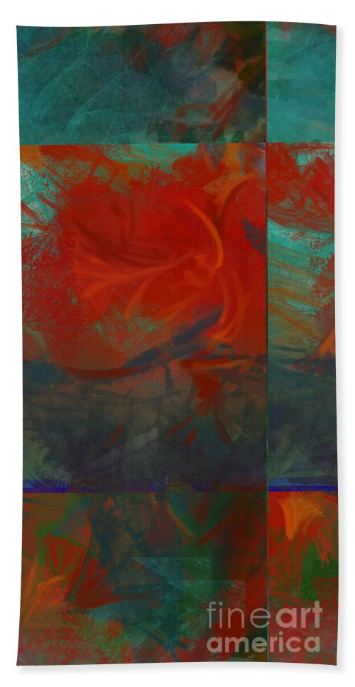 Fiery Hand Towel featuring the painting Fiery Whirlwind Onset by CR Leyland