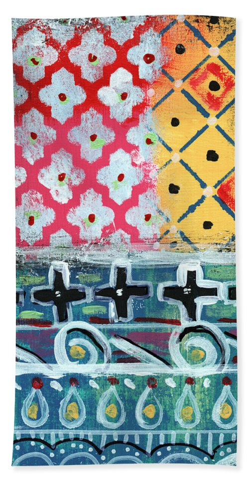 Diamonds Hand Towel featuring the painting Fiesta 6- colorful pattern painting by Linda Woods