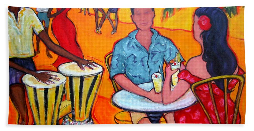 Beach Bath Sheet featuring the painting Fiesta At The Beach by Rebecca Korpita