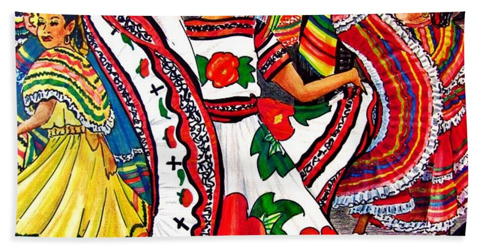 Spanish Dance Bath Sheet featuring the drawing Fiesta Parade by Marilyn Smith