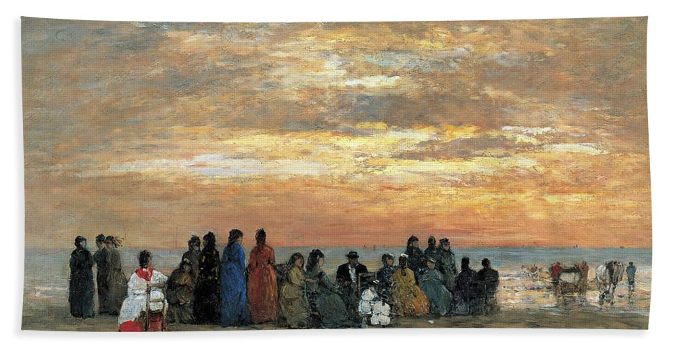 Eugene Boudin Bath Sheet featuring the painting Figures On The Beach In Trouville by Eugene Boudin