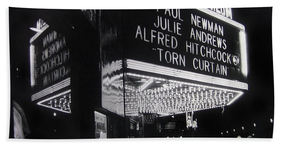 Film Homage Alfred Hitchcock Torn Curtain 1966 Orpheum Theater St. Paul Minnesota 1966 Black And White Bath Sheet featuring the photograph Film Homage Alfred Hitchcock Torn Curtain 1966 Orpheum Theater St. Paul Minnesota 1966 by David Lee Guss